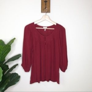 Joie dark red silk pleated front blouse